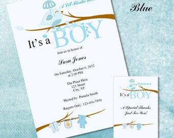 Lil Birdie Blue Baby Shower Invitations