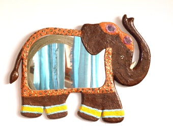 Decorative Wall Mirror Hand made brown,orange and yellow elephant mirror