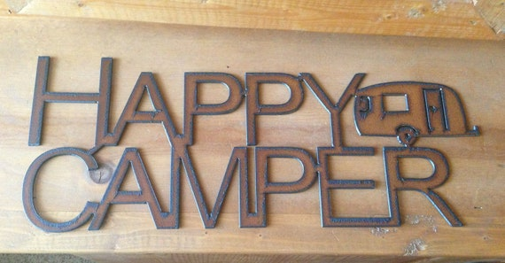 Rustic Recycled Metal Happy Camper Trailer Sign