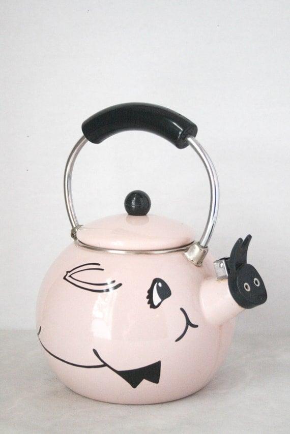 Vintage Pig Tea Kettle Animal Teapot Enamel By Shoprethink