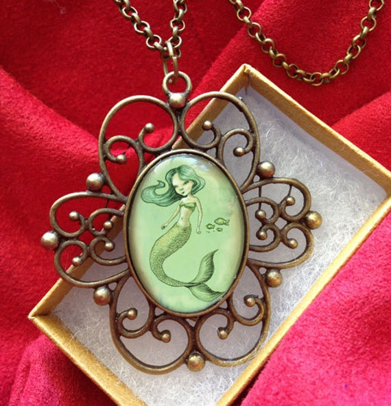 Sweet Little Mermaid Fairytale Art-Fantasy Antique Pendant