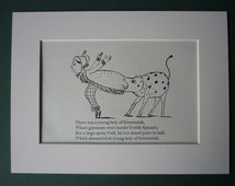 Vintage Edward Lear Original Print - Victorian Nonsense - Greenwich - Spinach - Rhyme - Calf - 1950 - Poetry - Poem - Cow - Limerick