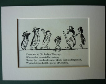 Vintage Edward Lear Original Print - Old Lady of Chertsey -  funny - limerick - humour  - Victorian