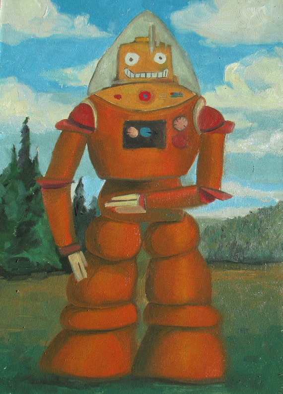 Robot Painting - Original Oil Painting of a Robot in the Wild