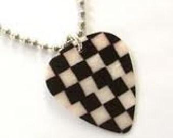 Checkerboard Guitar Pick Necklace
