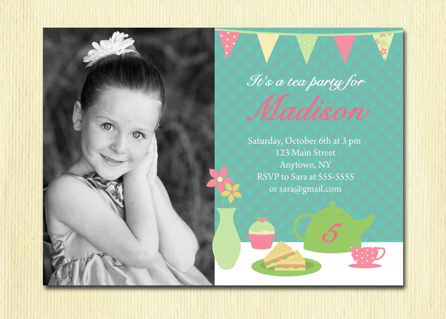 Girls Tea Party Invitation Birthday Girl DIY Printable – 3 Year Old Birthday Invitation