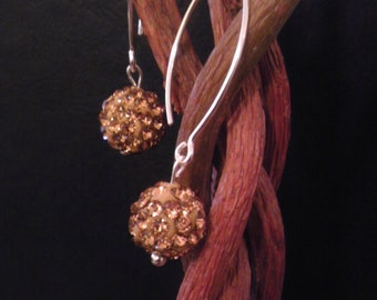 Swarovski disco ball earings -gold