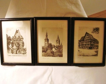 3 Medieval scenes small etchings framed signed numbered look German price has been reduced 50%