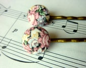 Vintage Floral fabric button hair pin
