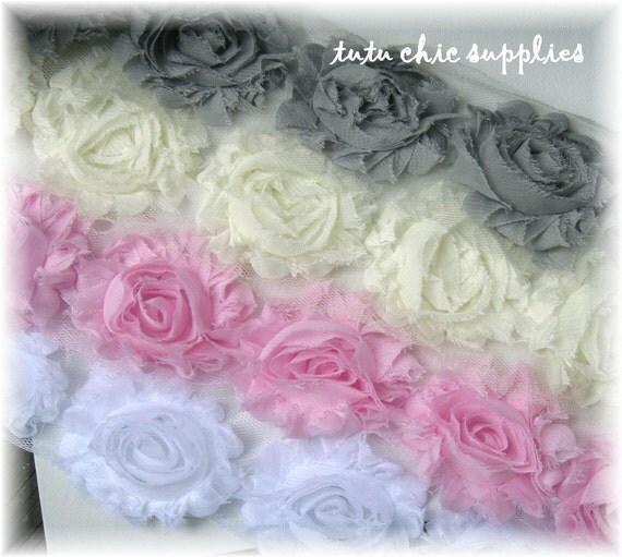 Tutu Chic Supplies Pink White Ivory & Gray Shabby Chic Flowers Chiffon Flowers Fabric Flowers baby headbands Flower headband Supplies