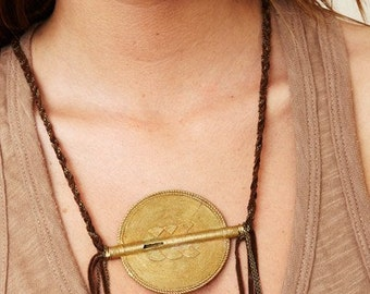 Suede Woven Necklace with African Medallion