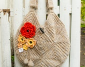 100% Hand Crocheted Women's Purse with Flower Accents - FREE SHIPPING