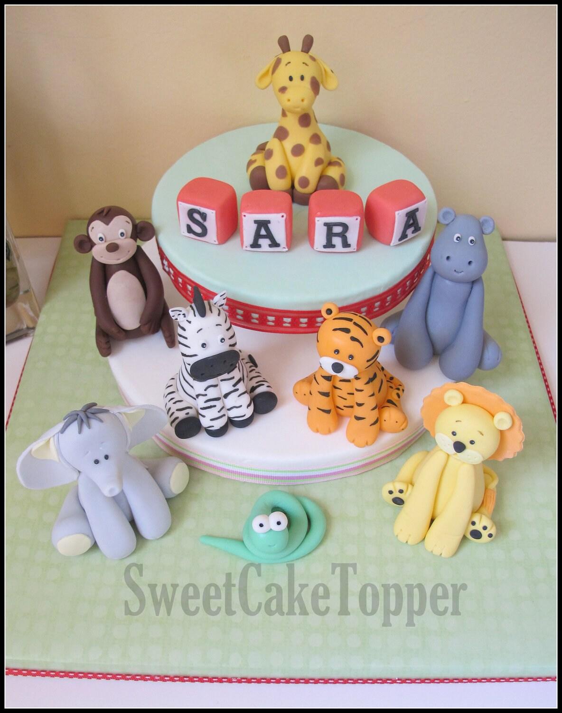 6 Safari Animal Fondant Cake Topper Handmade Edible Cake