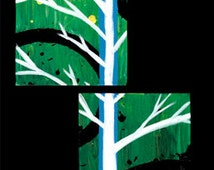 Building Blocks- Original Acrylic Abstract Painting, Green and White Tree (Painting No. N005)