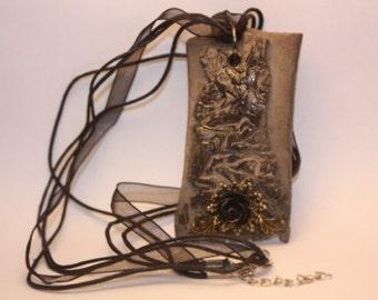 black raku necklace / ceramic necklace/ Handmade in Italy