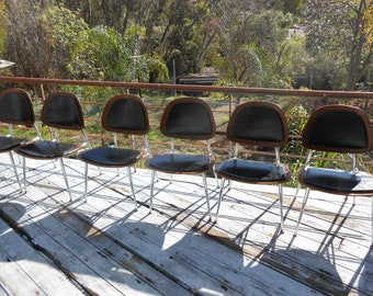 Mid Century Modern Plywood and Chrome Black Vinyl Chairs 6 Available