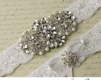 Wedding Garter set, Bridal Garter set, Lace Garter set, Rhinestone Garter, White Garter, Lace garter, Crystal Garter set