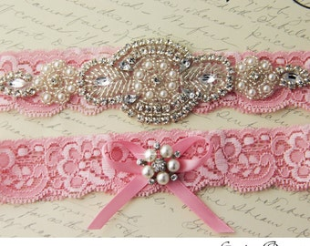 Pink Bridal Garter,  Wedding Garter set, Bridal Garter Set, Tossing Garter, Keepsake Garter, Crystal Garter