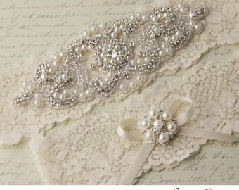 Lace Bridal Garter Set, Wedding Garter Set, Pearl Garter, Ivory Lace Garter, Ivory Garter Set, Rhinestone Garter, Personalized Garter