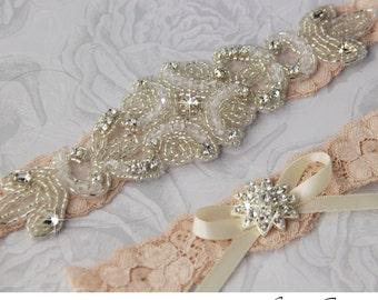 Blush Lace Bridal Garter, lave Wedding Garter Set, Stretch Lace Garter, Rhinestone Garter, Personalized Garter Set