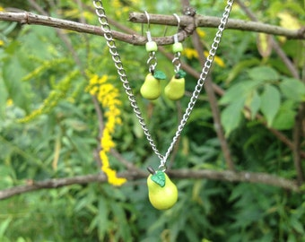 Ripe Juicy Pear Necklace and Earring Set