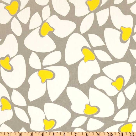 Helen Storm Grey and Yellow Twill Fabric - One Yard - Premier Prints Fabric - Gray / Grey, White, and Yellow Home Decor Fabric