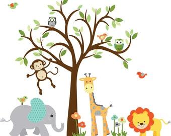 Wall Decal for Boy, Childrens Wall Decal, Jungle Animal Stickers, giraffe decal, monkey decal, owl wall decal, Modern Boy Celadon Design