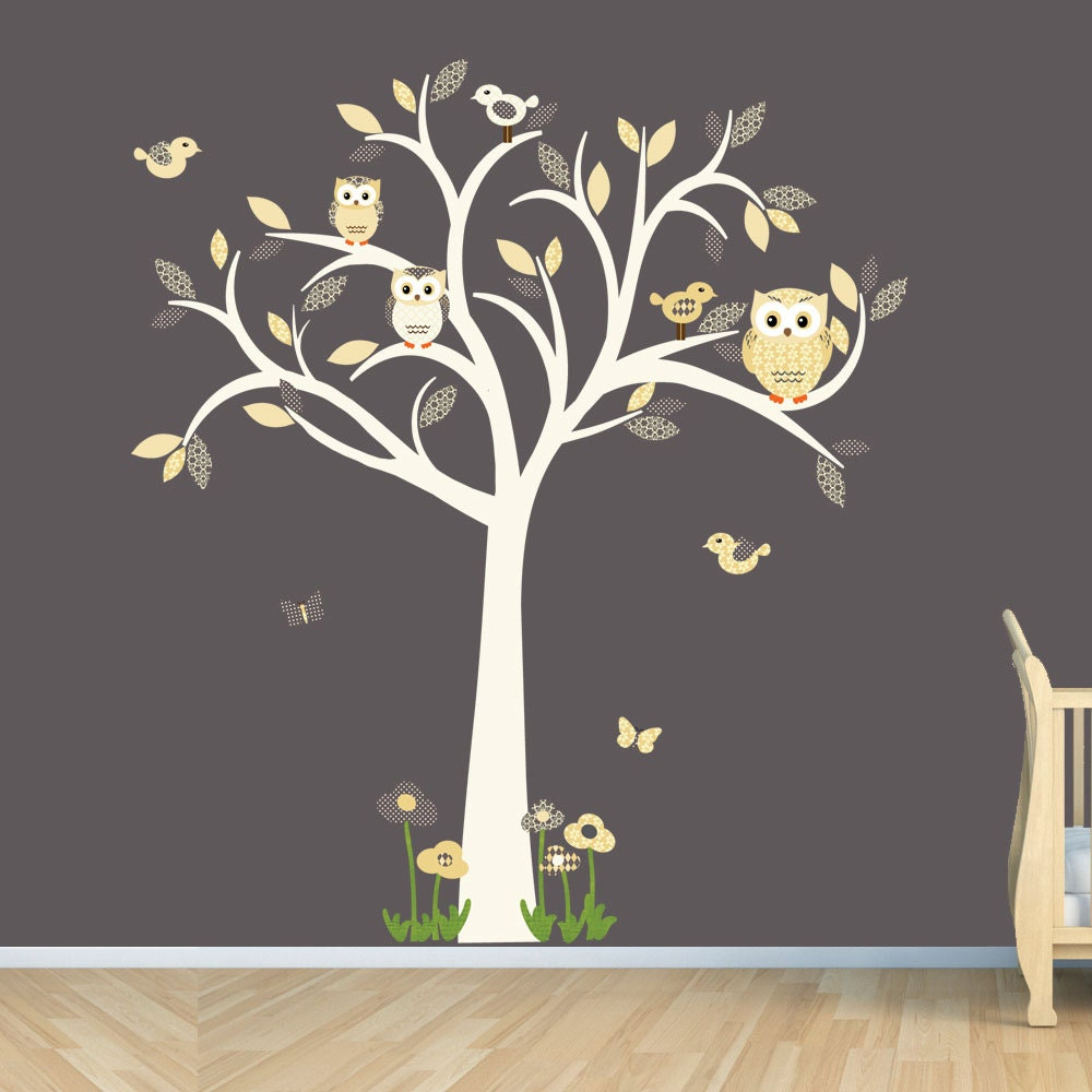 Owl decal owl tree wall sticker goldish yelllow grey owl for Bird and owl tree wall mural set