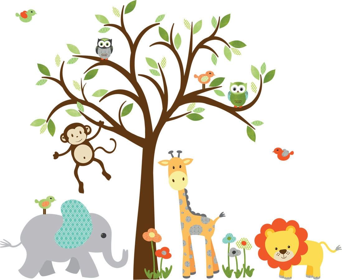 wall decal for boy childrens wall decal jungle animal zoom