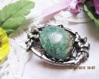 Indian/Mexican  Turquoise silver pin Brooch