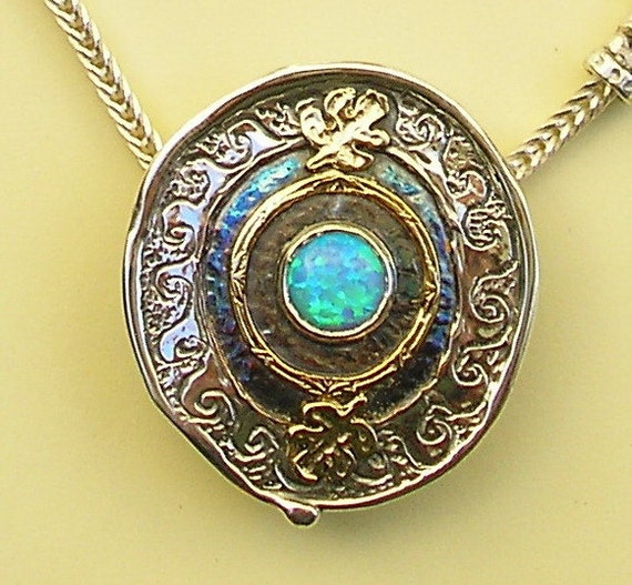 rivka 39 s well silver gold opal necklace israeli jewelry