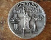 Vintage New York Cast Metal Plate
