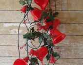 Vintage  Red Bell Light Strand & Plastic Holly Christmas Garland 1950's