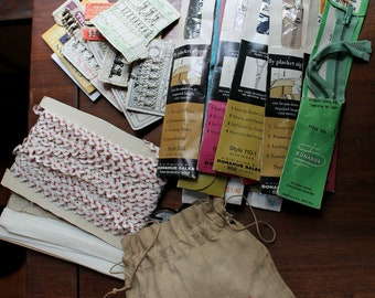 Vintage Sewing Suplies- Buttons, Zippers, Eye Hooks, Trim Tape