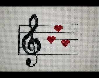 Treble Clef Music Love PDF Cross Stitch Pattern, Music Hearts Valentines Embroidery Chart, Instant Download