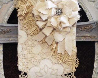 French Market Bag Canvas Shabby Lace Tattered Rose Rhinestones Cross Body Gypsy Boho Purse Romantic Cowgirl Chic