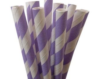 "Lavender Purple Long Paper Straws | 10.5"" Light Purple Paper Straws | Water Bottle Straws | Soda Pop Paper Straws | Purple Stripe Straws"