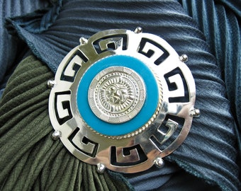 """1950s Mid Century 3"""" Aztec Sun Dial Pendant Necklace/ Pin w. Turquoise Accent, Mexico, 18"""" Sterling Chain."""