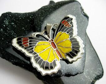 Large 1950s Butterfly Pendant, Scandinavian Design, Cloisonne Enamel, Mid Century, w. Chain.