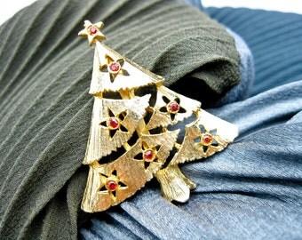 Vintage 50s Christmas Tree Pin, Costume Jewelry, Mid Century USA.