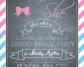 Baby gender reveal invite