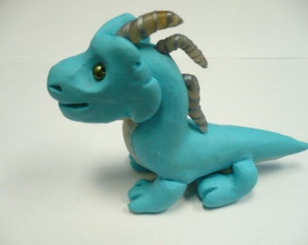 Big John- A Dragon Made from Polymer Clay with Glass Eyes