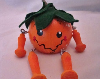 Halloween wooden painted pumpkin with dangle arms and legs