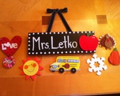 Teacher Name Sign with Seasonal decorations
