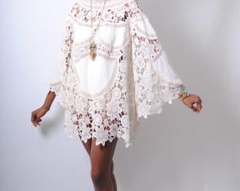 boho BELL SLEEVE 70s DRESS style ivory lace crochet patchwork sheer hippie mini dress . Bohemian Wedding Dress.