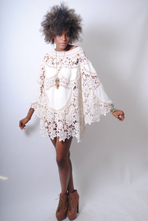 boho BELL SLEEVE 70s DRESS style ivory lace by ...