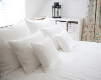 Linen duvet cover and pillow cases -  Queen Size- white linen