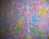 Single Standard Size Pillow Case OOAK Pastel Butterflies 100% Cotton