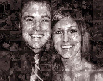 Anniversary Gift for Wife, Girlfriend, Parents - Photo Mosaic Print - Custom Personalized Collage Wall Art