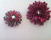 Funky Flower Hair Clips with Animal Print and Rhinestone Center